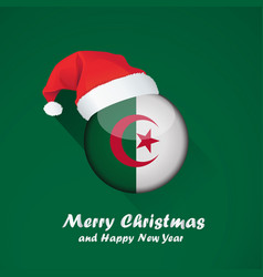 Flag of algeria merry christmas and happy new vector