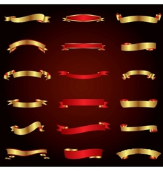 Gold and red ribbons set vector image