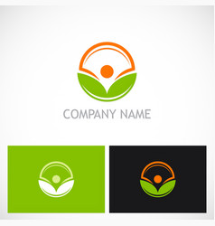 green leaf beauty organic logo vector image