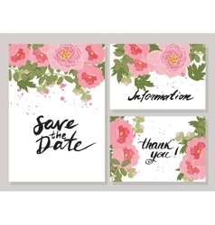 greeting hand-drawn peony floral vector image