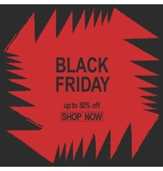 Grunge black friday sale banner red color angles vector