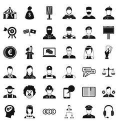 Headhunter icons set simple style vector