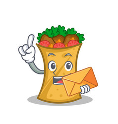 Kebab wrap character cartoon with envelope vector