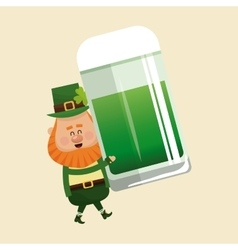 leprechaun carrying mug green beer vector image vector image