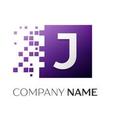 letter j logo symbol in the colorful square with vector image vector image