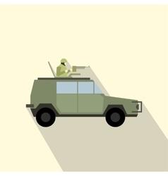 Military war car flat icon vector image