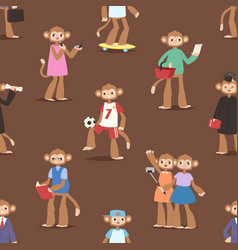 Monkey like people cartoon characters animal ape vector