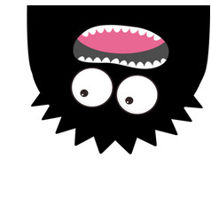 Monster head silhouette two eyes teeth tongue vector