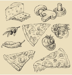 Pizza set vector