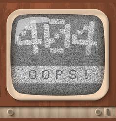 retro tv page not found error vector image vector image