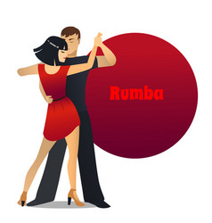 Rumba dancing couple in cartoon style vector