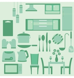 Set of furniture in kitchenroom vector image vector image