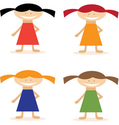 Set of simple flat design girls in dresses vector