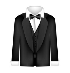 Sticker shirt with bow tie and coat icon vector