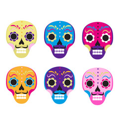 sugar skull set icon flat cartoon style cute vector image vector image