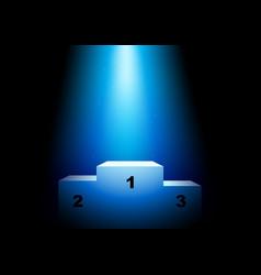 Winner podium under blue light vector