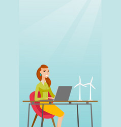 Woman working with model of wind turbines vector