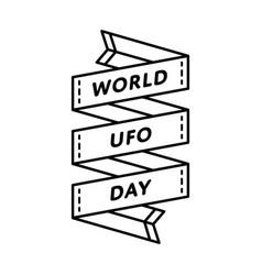 world ufo day greeting emblem vector image vector image