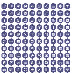 100 training icons hexagon purple vector