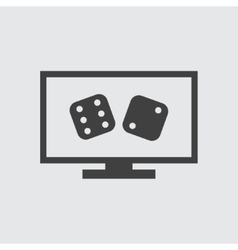 Dice on screen icon vector