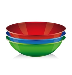 Bowl set - red blue green vector