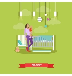 Nanny with a child nursery room interior vector