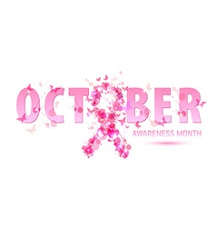 Breast cancer awareness concept pink ribbon vector