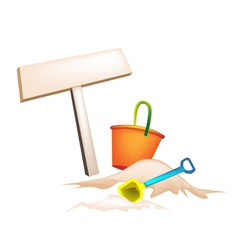 Beach bucket and wooden placard vector