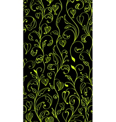 seamless green line flowers vector image
