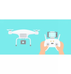 Hands holding drones controller vector