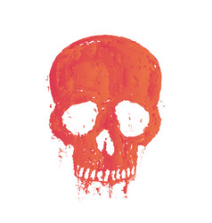 T-shirt print with painted skull over white vector