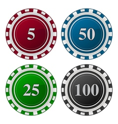 Cards chips poker with number vector