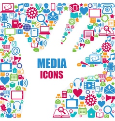 Background with media icons modern and retro desi vector