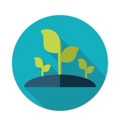 Plant sprout flat icon with long shadow vector