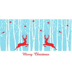 Christmas deers in birch tree forest vector image