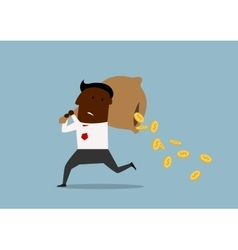 Cartoon businessman losing money from bag vector