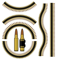 Bullet and machinegun cartridge belt vector