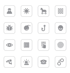Gray flat icon set 7 with rounded rectangle frame vector