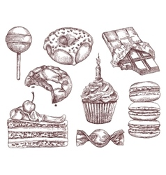 Confectionery sketches hand drawing vector