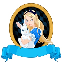 Alice with White Rabbit vector image