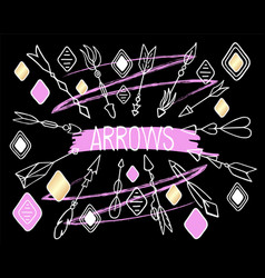 Arrows clipart on black background hand vector