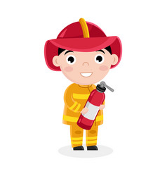 boy in fireman uniform with fire extinguisher vector image