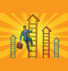 Businessman climbs up the stairs vector