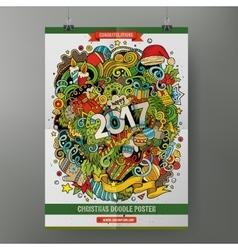 Cartoon doodles 2017 year poster vector