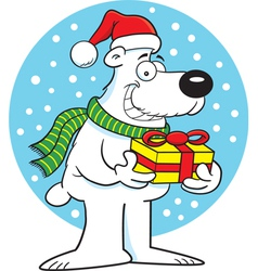 Cartoon polar bear holding a gift vector image vector image