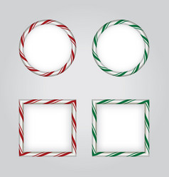 christmas holiday candy cane borders vector image