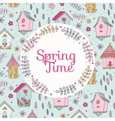 Cute bird house card - spring time vector