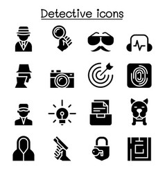 Detective icon set graphic design vector