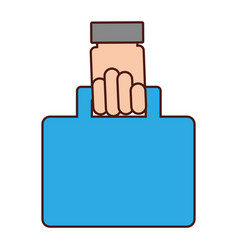 Hand human with portfolio briefcase isolated icon vector