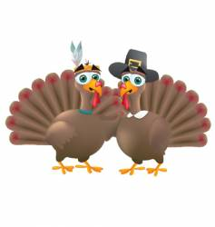 Indian and pilgrim turkeys vector image